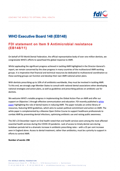 WHO EB 148 - FDI statement on Item 9