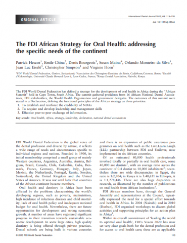 FDI African strategy for oral health_Addressing the specific needs of the continent_journal article